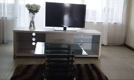 White medium TV Stand and Black glass Coffe table