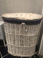 OKAZJA! Kosz na pranie bieliznę biały wiklinowy owalny okrąg Home&You!