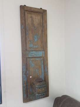 Antique Wall hung, wooden candle holder. W. 500mm X H.1000mm