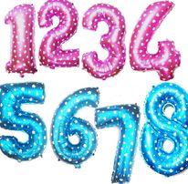 Надувные цифры (фотозона) (1,2.3,4,5,6,7,8,9,0) 70 см голубые и розовы