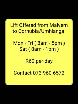 Lift Offered from Malvern to Cornubia/Umhlanga