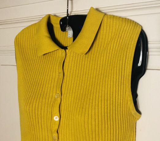 Bluzka sweter bez rękawów musztardowy żółty M/38 guziki Bydgoszcz - image 1
