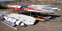 Image of Canoe's, sea kayaks and windsurfers with trailer for sale