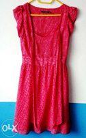 letnia sukienka czerwono biała we wzór zwiewna