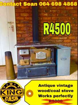 Antique metal coal stove