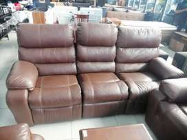 3,2,1 BROWN BONDED RECLINER LEATHER COUCH