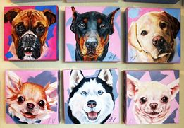 """Картины """"Портрет собак"""" написаны маслом собака лабрадор, боксер"""