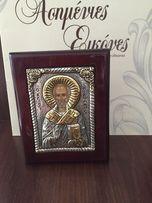 Срібна ікона з позолотою, Греція,серебряная икона позолоченная