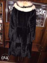 Пальто женское натуральное из котика с мехом песца
