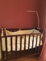 Кроватка деревянная , кокосовый матрасик, держатель для балдахина