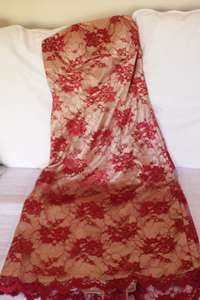 Image of Red Strapless Lace Dress Size 12 BRAND NEW NEVER WORN