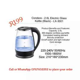 Condere - 2.0L Electric Glass Kettle (Black) - LX-3001Product