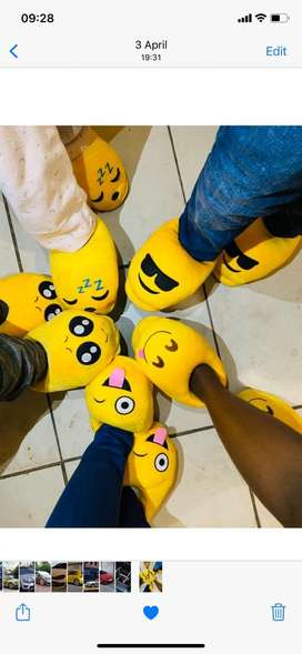 Emoji and bunny slippers