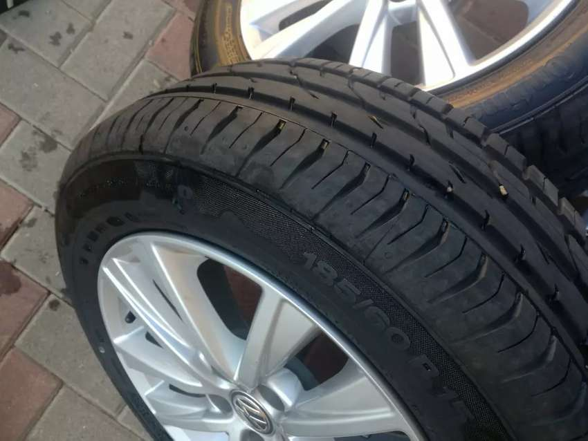 New polo Vivo mag rims and tyres forsale size 15 price R5500 0