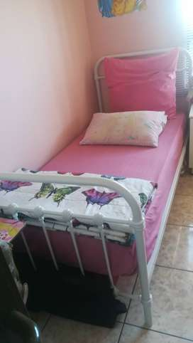 Queen size bed with headboard and base and single bed with matress
