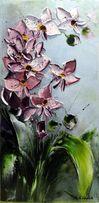 Obraz olejny - 20x40 cm , storczyk kwiaty