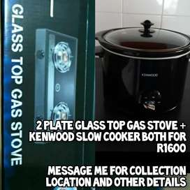 2 plate glass top gas stove + kenwood slow cooker both for R1000