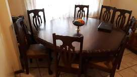 Octogonal Table with 8 Chairs & Side Cabinet