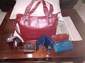 Genuine leather bags, wallets and purses