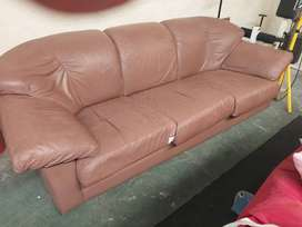3 seater Genuine Leather Couch 1 cushion damaged