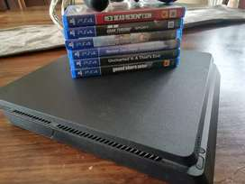 Playstation 4 with games and remote