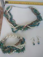 Biżuteria komplet naszyjnik bransoletka bransoleta kolczyki nowe