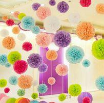 Помпоны, бумажные цветы 25см. (Декор, фотозона, кенди бар, свадьба ),
