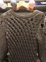 Przepiękny gruby ażurowy sweter Sisley r.M