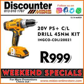 20V PS+ C/L Drill 45NM Kit ONLY R999 at Discounter Midas!