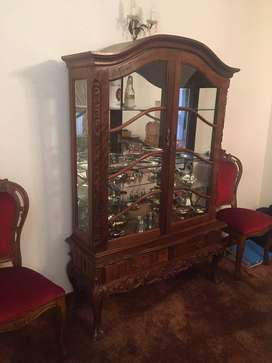 Large Antique Display Cabinet with solid wood carved detail