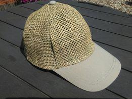 Słomiana czapka bejsbolówka, czapka ze słomy z daszkiem bawełnianym