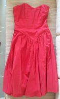 CZERWONA , suknia / sukienka - balowa / wieczorowa , na szyfonie , M