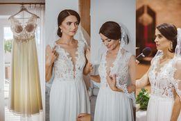 Wyjątkowa Suknia ślubna gipiura muślin dekolt siatka wycięcie AGNES