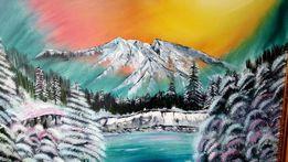 """""""Закат в горах""""Картина написана маслом.В Багете"""