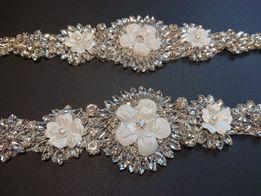 Aplikacje z kwiatkami 3D ślubne okolicznościowe na sukienke