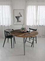Stół okrągły stare drewno retro loft design industrial vintage skandi