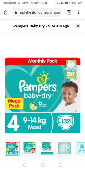 Pampers Baby dry Size 4 Mega Pack - 132 Nappies