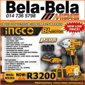 INGCO 20V Lithium-Ion Impact wrench NOW ONLY R3200!