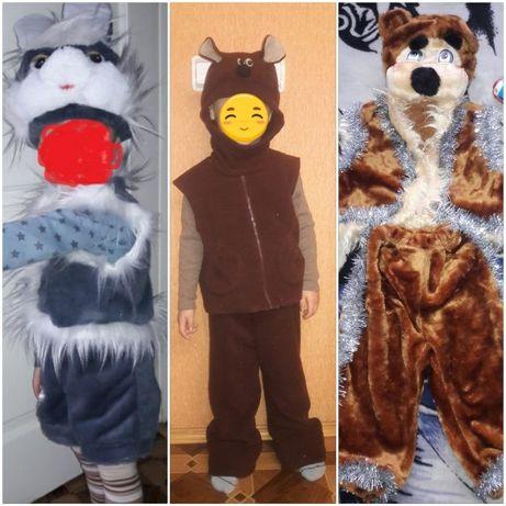 Новогодние карнавальные костюмы заяц, медведь, человек паук