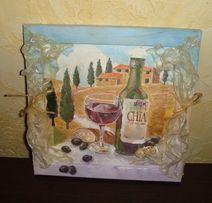"""Картина для кухни """"Натюрморт с вином"""", 24/24см."""