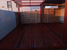 Pergola and wooden decking