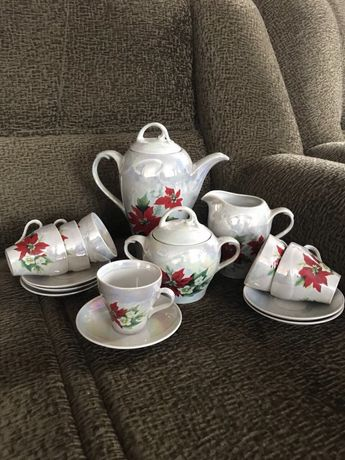 Очень красивый перламутровый чайный сервиз Днепр - изображение 1