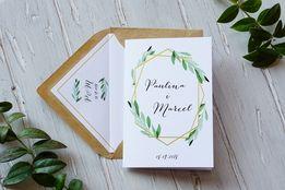 Zaproszenia ślubne Boho, Rustykalne, Geometryczne, Wianki