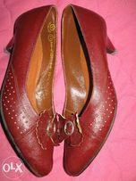 Туфли кожаные бардовые
