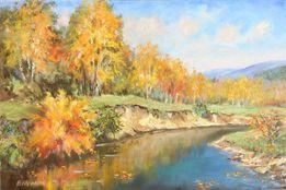 """Золотая осень"",картина,холст,масло 45х65,оформлена в раму"