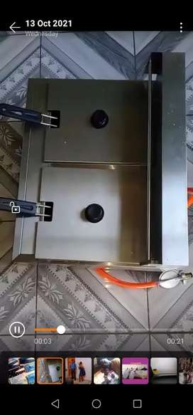 Double gas chips fryer