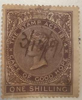 1864 Cape of Good Hope Stamp Act one shilling stamp