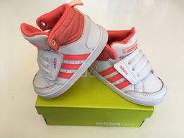 Buty buciki adidas neo hoops cmf mid inf 21 różowe białe z brokatem