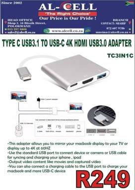 TYPE C USB 3.1 TO USB-C 4K HDMI USB3.0 ADAPTER ( TC3IN1C