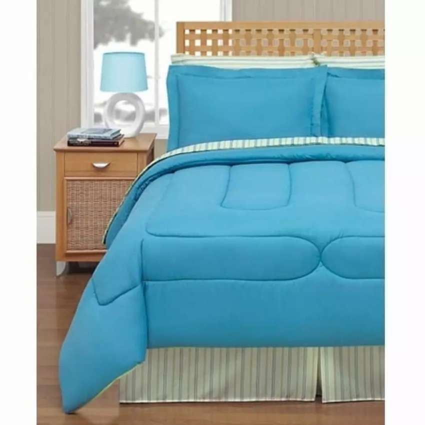 Brixton 8 Piece -2 Colors in 1 Set Reversible Bedding Ensemble 0